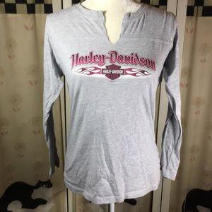 Harley Davidson 3/4 Sleeve Gray Tee Shirt